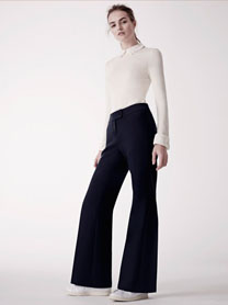 With a great wide leg trouser suit and t-shirt